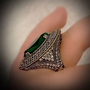 EMERALD FINE ART RING Size 9 Solid 925 Silver/Gold